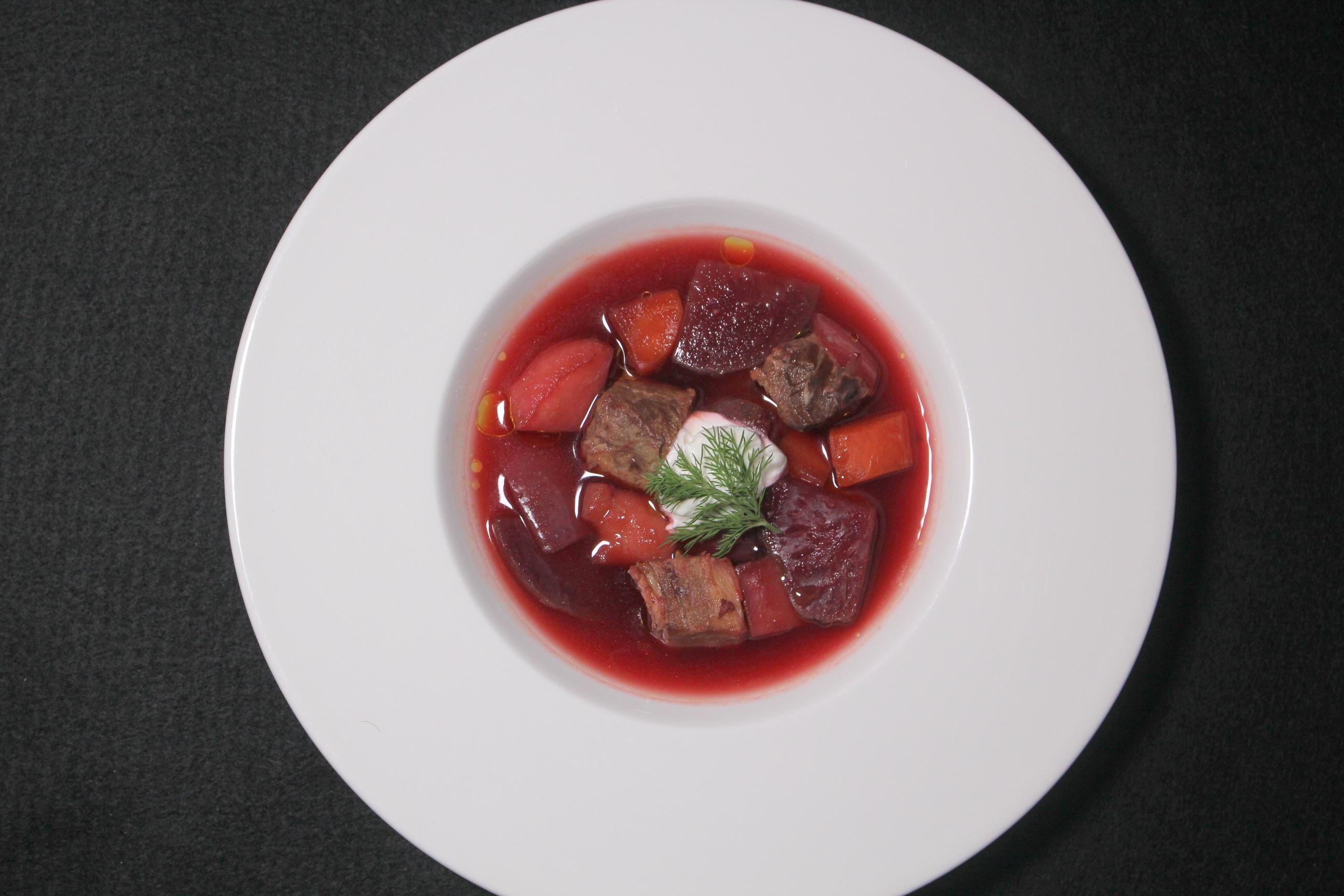 ロシアワールドカップ 旬野菜のボルシチスープ明るさ調整